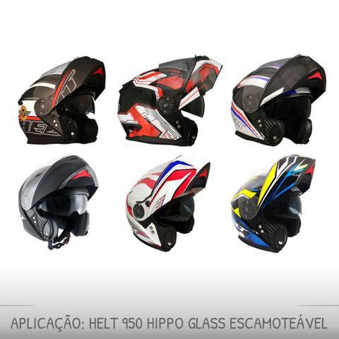 Imagem de Kit Reparo Fixação Viseira Capacete Escamoteável Helt 950 Hippo Glass Original