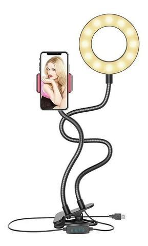 Imagem de Kit Ring Light e Suporte Celular Selfi Luminaria Abajur
