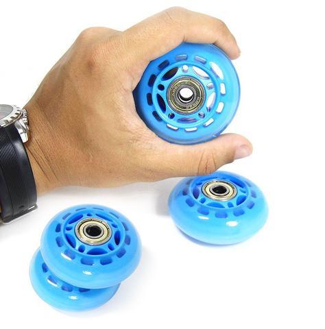 Imagem de Kit Roda de Patins Rodinha Abec 7 Pequena 4 Uni Azul (RA-A)