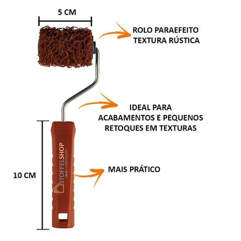 Imagem de Kit Rolo Textura Rustica Tamanhos 5cm, 10cm e 23cm + Garfo 23cm sem rosca