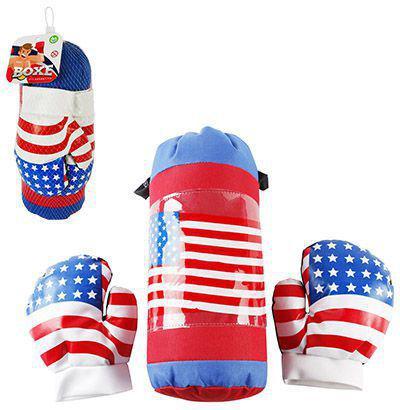 Imagem de Kit saco de pancadas e luva de boxe infantil usa