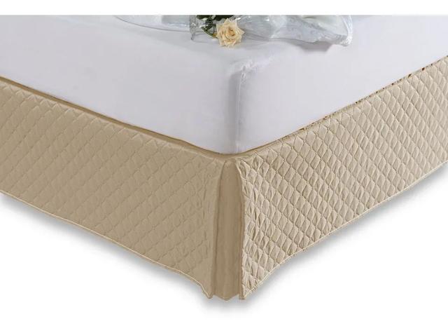 Imagem de Kit Saia Box Para Cama Queen + Protetor De Colchão Impermeável Cáqui