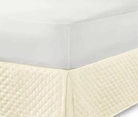 Imagem de Kit Saia Box Para Cama Queen + Protetor De Colchão Impermeável Palha