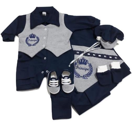 Imagem de Kit Saída Maternidade 6 (seis) peças 100% algodão Menino - Azul Escuro e Cinza Mescla