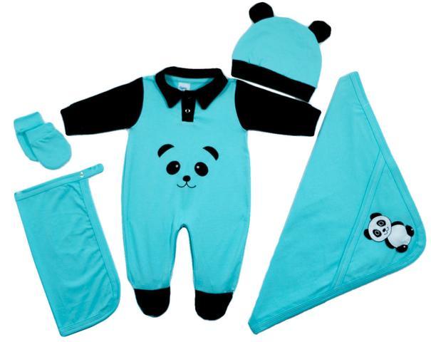 Imagem de Kit Saída Maternidade Panda Bebê Azul Menino Menina - 5 Peças
