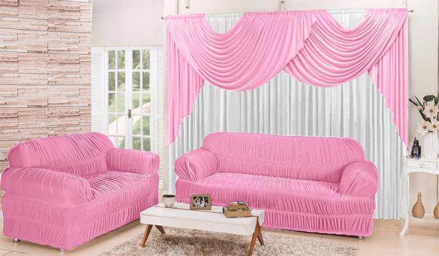 Imagem de Kit Sala Conforto Cortina 2,00x1,70m + Capa de sofá 2 e 3 lugares - Rosa e Branco