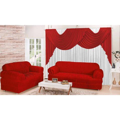 Imagem de Kit Sala Conforto em Promoção com Cortina 2,00x1,70m e Capas para Sofá de 2 e 3 lugares cor vermelho
