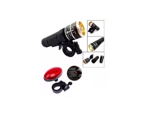 Imagem de Kit Segurança Pisca Traseiro E Lanterna C/ Zoom Ciclismo