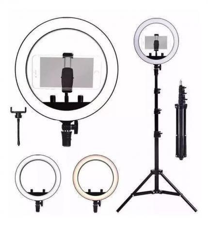 Imagem de Kit Studio Anel Luz Ring Light 26cm Regulável 3 tons USB + Tripé até 2,0m / 1 Ring Light 16cm com Tripe