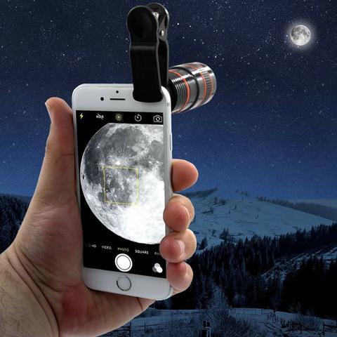 Imagem de Kit Super Luneta Lente Zoom Hd Profissional Telescópio Celular Universal + Mini Tripé Flexível Youtuber + Flanela Brinde