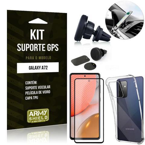 Imagem de Kit Suporte Veicular Magnético Galaxy A72 + Capa Anti Impacto +Película Vidro 3D - Armyshield