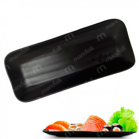 Imagem de Kit Sushi 6 Pecas em Melamina / Plastico Preto Travessas e Molheira  Utilgoods