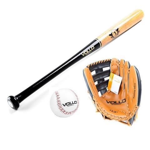 Imagem de Kit Taco Baseball Madeira Com Bola Cortiça e Luva Vollo