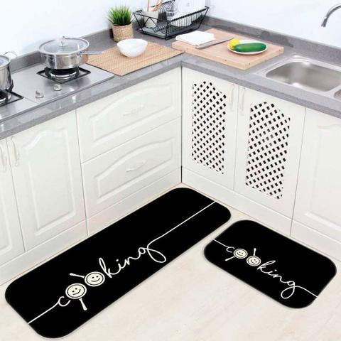 Imagem de Kit Tapete de Cozinha Cooking Black