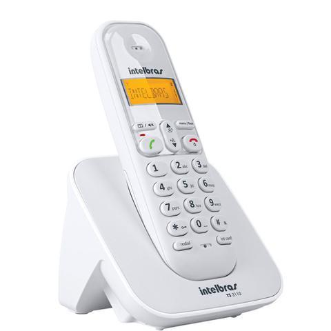 Imagem de Kit Telefone Sem Fio TS 3110 Intelbras Com 4 Ramal extensão Branco Data Hora Alarme Despertador
