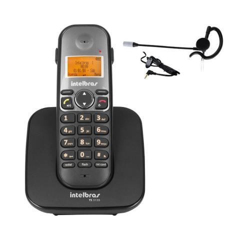 Imagem de Kit Telefone sem fio TS 5120 Com Fone Ouvido HC 10 Intelbras