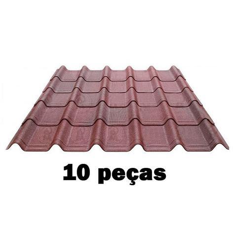 Imagem de Kit Telha Ecológica Onduline Onduvilla 1,06X0,40m Vermelha Mesclada-10 peças