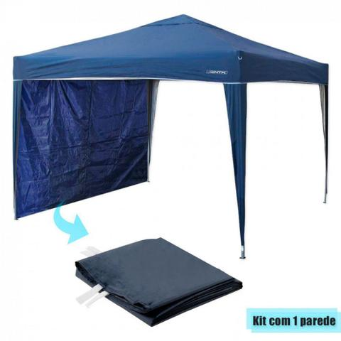 Imagem de Kit Tenda Dobravel Trixx 3m X 3m Base e Topo + 1 Parede Lateral Azul  Nautika