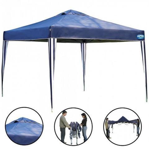 Imagem de Kit Tenda Gazebo Azul Base e Topo 3x3 M + 2 Paredes Brancas Sem Janelas  Mor