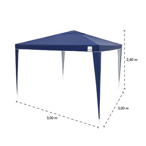Imagem de Kit Tenda Gazebo de Encaixe 3x3m Azul + 2 Paredes Lateral em Oxford  Bel
