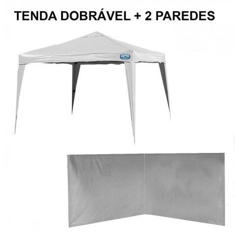 Imagem de Kit Tenda Gazebo Dobravel 3m X 3m Base e Topo + 2 Paredes Brancas Sem Janela  Mor