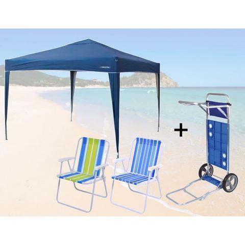 Imagem de Kit Tenda Gazebo Dobravel 3x3m + Carrinho de Praia + 2 Cadeiras de Praia  Nautika