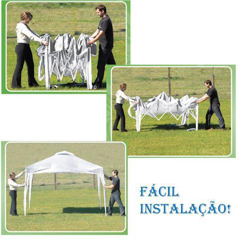 Imagem de Kit Tenda Gazebo X-Flex Articulável 3x3m + 4 Paredes Ráfia Branco - Mor