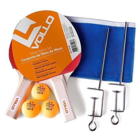 Imagem de Kit Tênis de Mesa com Raquetes, 3 Bolas e rede VT610R Vollo