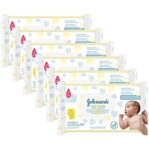 Imagem de Kit Toalhas Umedecidas Johnsons Baby Recém-Nascido 6 pacotes com 96 unidades cada