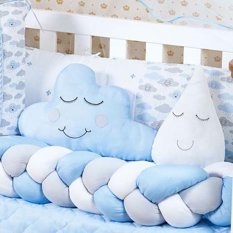 Imagem de Kit Trança Berço Nuvem Azul Claro 10pçs Brinde Gota
