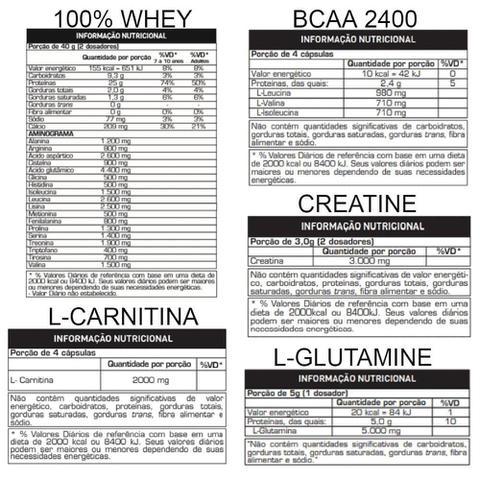 Imagem de KIT TREINO COMPLETO: 100% Whey + BCAA + Creatina + Glutamina + L-Carnitina