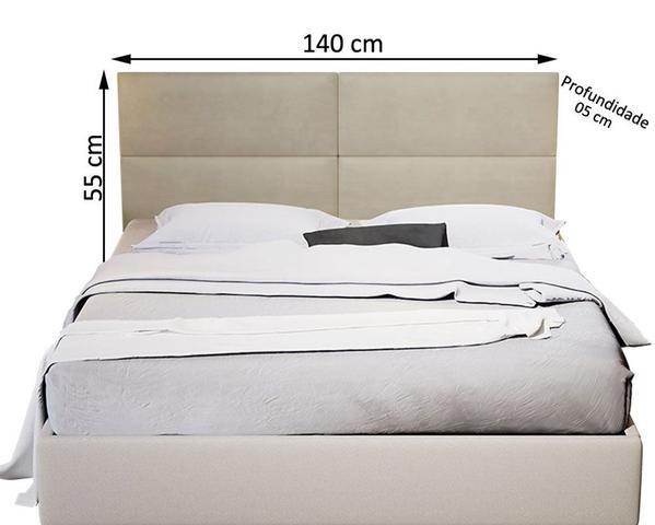 Imagem de Kit Uma Mesa Cabeceira Painel Estofado Casal Seleta 140cm
