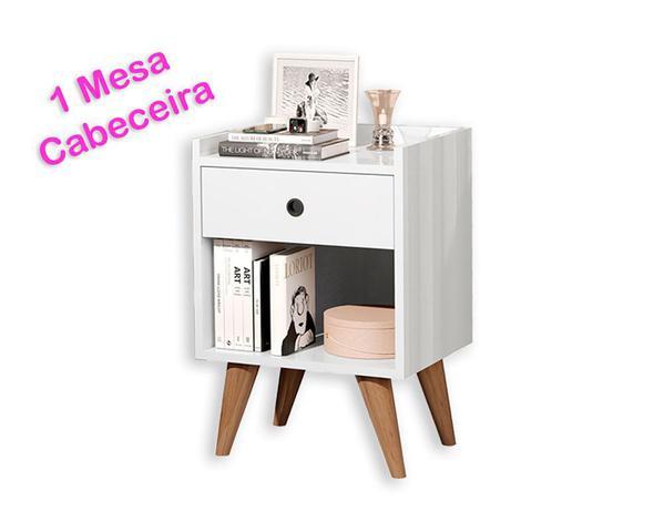 Imagem de Kit Uma Mesa Cabeceira Painel Estofado Queen DoceLar 160cm