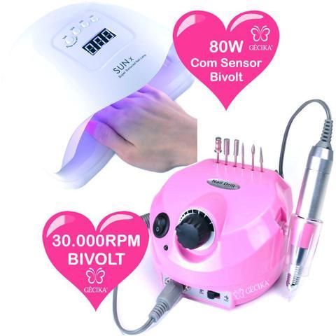 Imagem de Kit Unhas Gel Lixa Eletrica Cabine 80W Led UV Coletor Po Profissional 220v Gecika