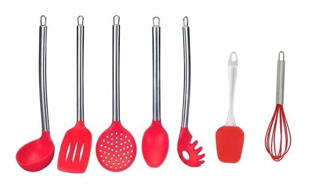 Imagem de Kit Utensílios De Cozinha Silicone Com Inox 7 Peças Vermelho