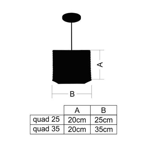 Imagem de Kit Utron 5 Lustres Luminária Pendente Junco Quadrado 25cm