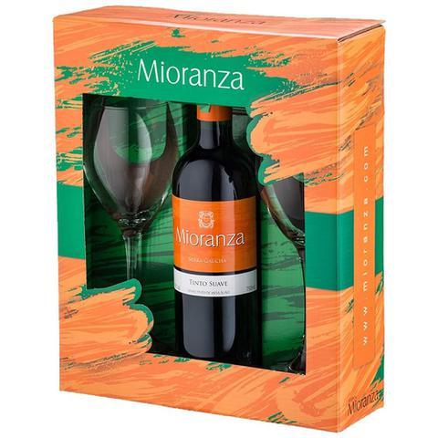 Imagem de Kit Vinho Nacional Tinto Suave Garrafa 750ml + 2 Taças - Mioranza