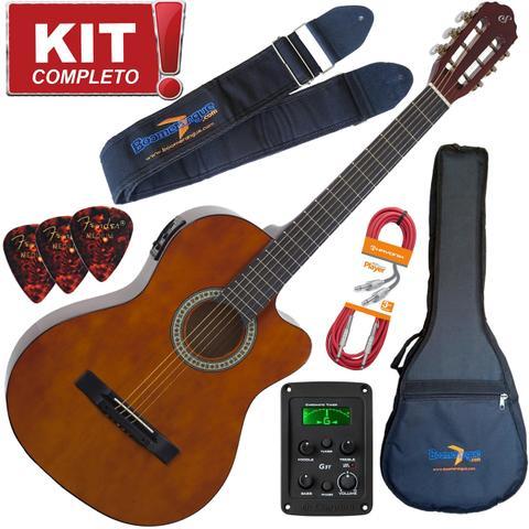 Imagem de Kit Violão Flat Eletroacústico SF14 NT Aço Giannini Completo