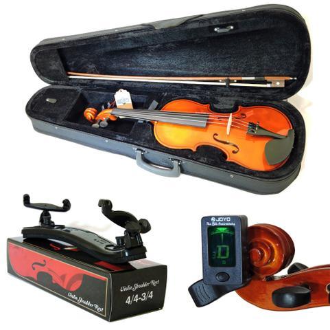 Imagem de Kit Violino Barth Nt 4/4 c/Estojo, Arco,Breu +Espaleira Shoulder Rest+Afinador Joyo