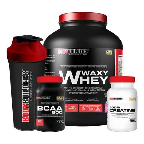 Imagem de Kit Waxy Whey 2kg Morango + BCAA 800 120 Tabletes + 100 Creatine 100g + Coqueteleira  Bodybuilders