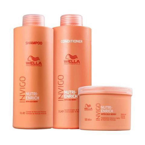 Imagem de Kit Wella Nutri Enrich Shampoo 1L, Condicionador 1L e Mascara 500ML
