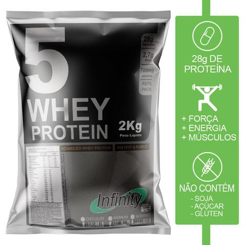 Imagem de kit whey protein isolado concentrado hidrolisado 3w 4kg Infinity - Morango