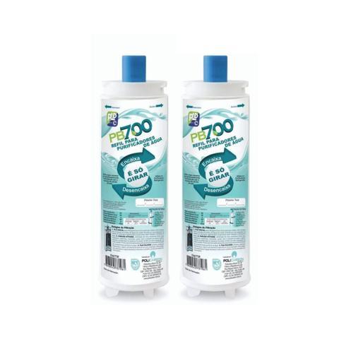 Imagem de Kit X2 Refil Filtro Purificador Água Masterfrio Rótulo Azul Bico 22,5mm Policarbon PB700