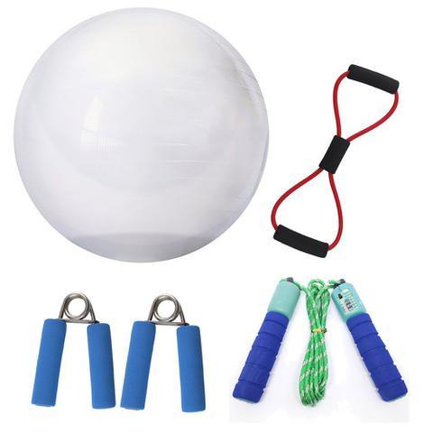 Imagem de Kit Yoga Pilates Com Bola Extensor Corda E Par De Molas Para Fortalecimento Ginástica Fitness