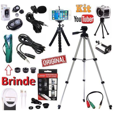 Imagem de Kit Youtuber Microfone De Lapela Celular + Tripé 1,30m Câmera Celular Flash Ring Light Kit Lentes Extensão 2 Mini Tripés