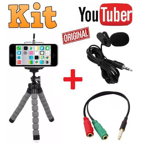 Imagem de Kit Youtuber Profissional Microfone Lapela Tripé 1,30m Celular Universal Iphone Android + Luz Anel Ring Light Led Flash