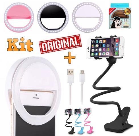 Imagem de Kit Youtuber Suporte Articulado Pescoço Ganso Flexível Celular Universal  + Luz Led Flash Ring Light Selfie Recarregável