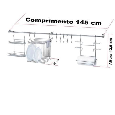Imagem de Kitchen Set 1 Escorredor de Pratos Suporte Rolos Prateleira Porta Tempero E 6 Ganchos Aço Passerini