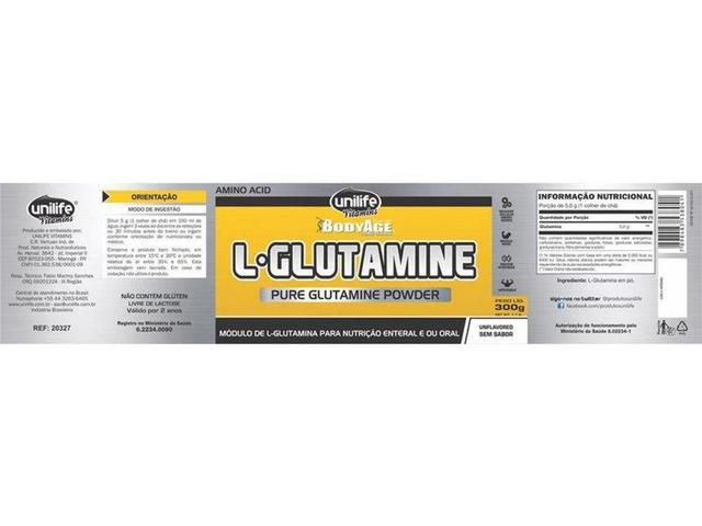 Imagem de L-Glutamina 100 pura em pó 300g Unilife