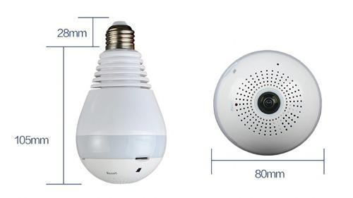 Imagem de Lampada Câmera Espiã Panoramica 360º Wifi B13-l-v2 130w